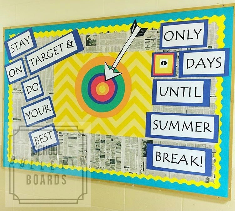 End of the school year bulletin boards are a perfect way to remind students to stay on track during the time of year when they are already on vacation.  #endofschoolyear #schoolbulletinboards