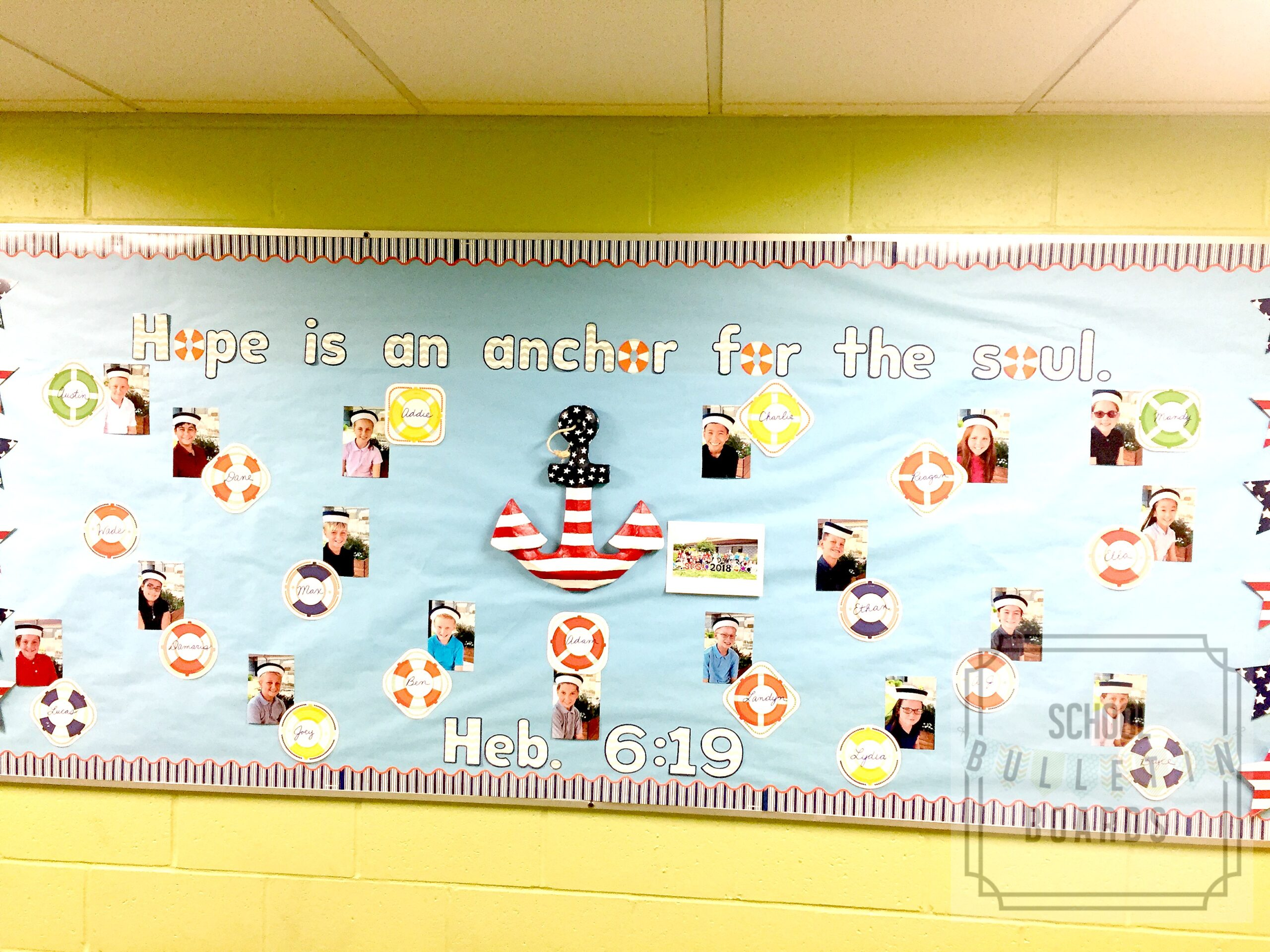 This adorable nautical themed bulletin board is wonderful for sharing verses with students and reminding them how important character traits are to their lives.  #parochial #schoolbulletinboards