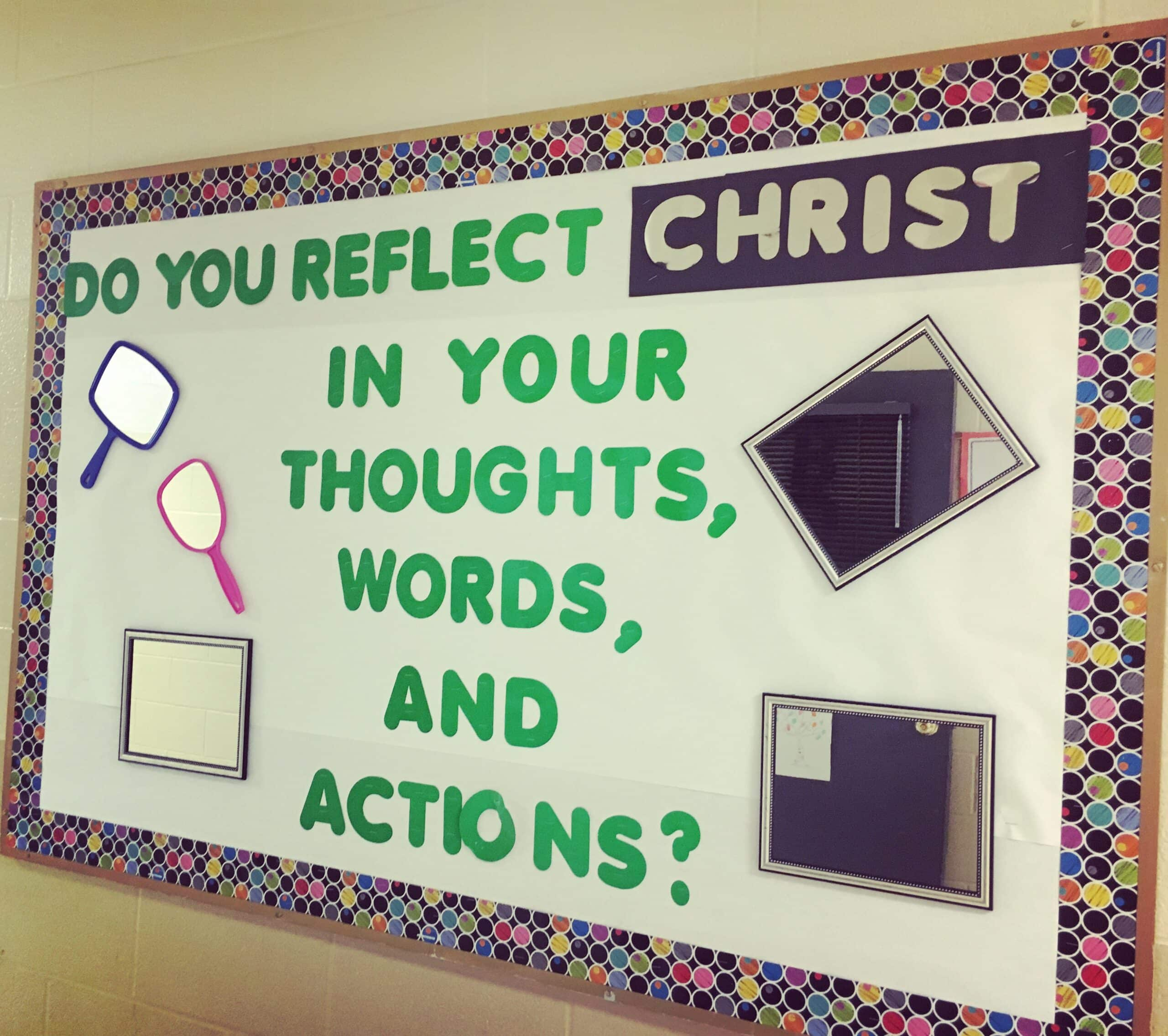 This parochial themed bulletin board is perfect for reminding students that they are responsible for their own actions and thoughts. #parochial #schoolbulletinboards