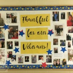 Reminding students to be thankful for our veterans is easily shown with this great bulletin board that showcases veteran families throughout the classroom! #veteransday #schoolbulletinboards