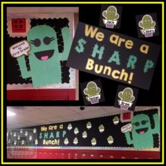 This bulletin board with a cactus theme is an adorable way to welcome new students to school and teach about multiple meaning words at the same time. #schoolbulletinboards #readinglessonplans