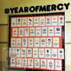 This spiritual works of mercy bulletin board helps students to see specific things to do which allows for modeling of the intended behavior. #christianvalues #parochialschools