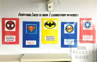 Having a superhero bulletin board for your school hallway or classroom will definitely create some smiles in the building. #superhero #schoolbulletinboards
