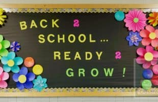 A back to school bulletin board has never been so colorful and easy to put together! #backtoschool #schoolbulletinboards