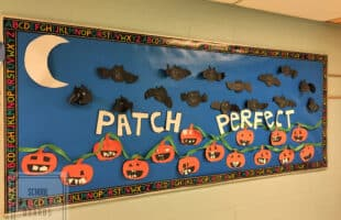 "Need a way for students to show their creativity in fall?  This fun fall-themed bulletin board is ""patch"" perfect! #schoolbulletinboards #fallclassroombulletinboard"