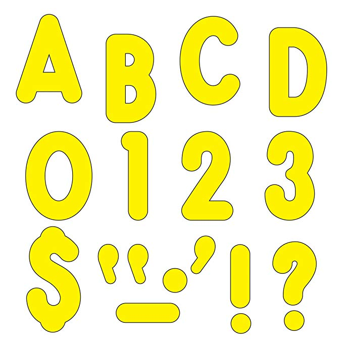 "TREND enterprises, Inc. T-79414 Yellow 7"" Billboard Uppercase Ready Letters"