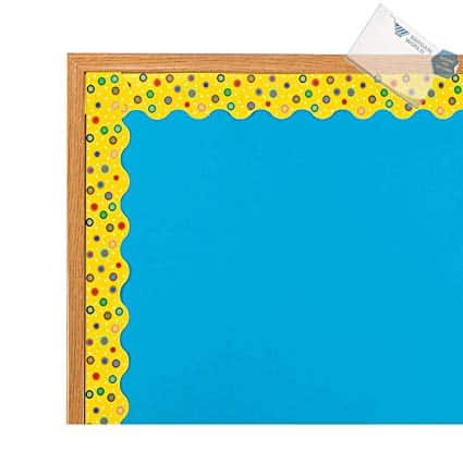 Paper Yellow Polka Dot Bulletin Board Borders with Scalloped Edge (With Sticky Notes)
