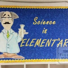 "Let's focus on science learning!  Here's a fun ""Element""ary school science bulletin board! #schoolbulletinboards #sciencebulletinboard"