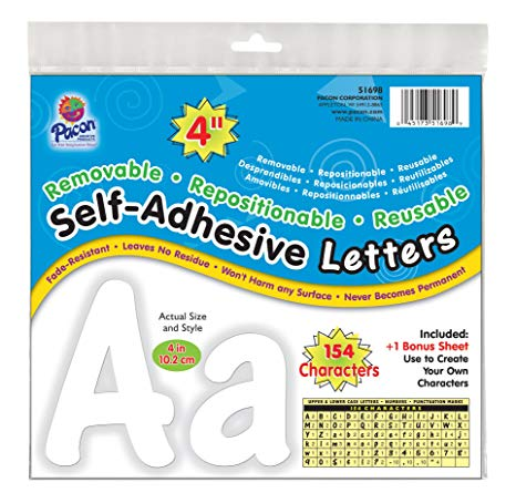 Pacon Self-Adhesive Uppercase and Lowercase Letters, 154-Count, White (51698)