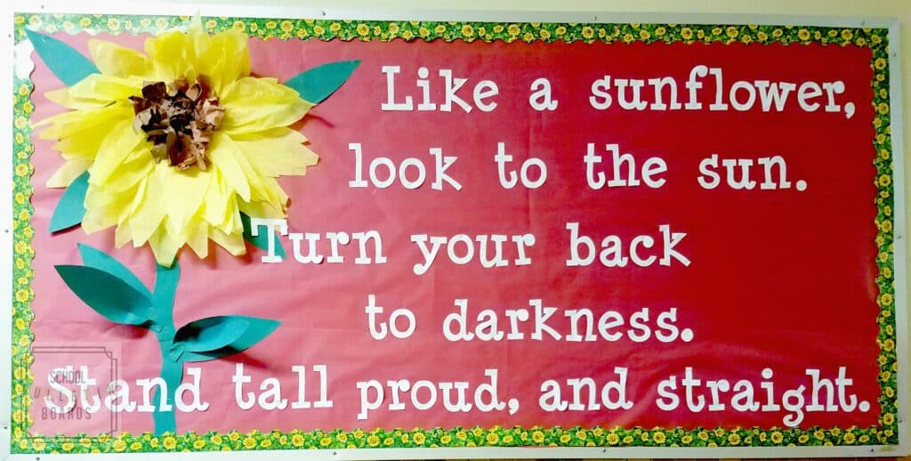 Summer Sunflower Power #schoolbulletinboards #summerbulletinboard #characterbuilding