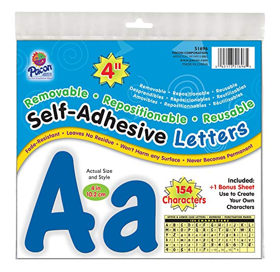 "Pacon 4"" Self-Adhesive Uppercase and Lowercase Letters, 154-Count, Blue (51696)"