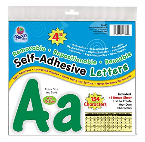 "Pacon 4"" Self-Adhesive Uppercase and Lowercase Letters, 154-Count, Green (51697)"